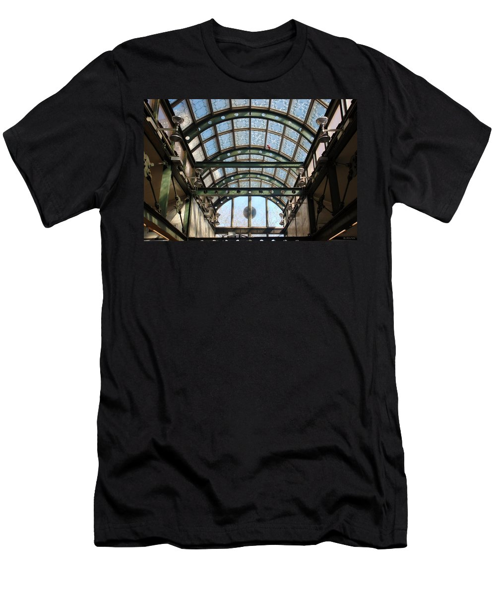 Black And White Men's T-Shirt (Athletic Fit) featuring the photograph Subway Glass Station by Rob Hans