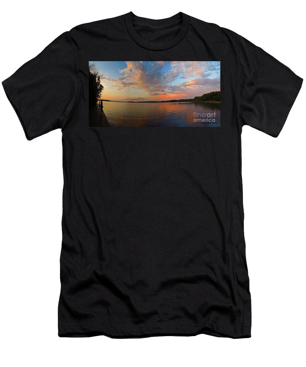 Sebago Lake Men's T-Shirt (Athletic Fit) featuring the photograph Summer Night At Sebago Lake by Lloyd Alexander