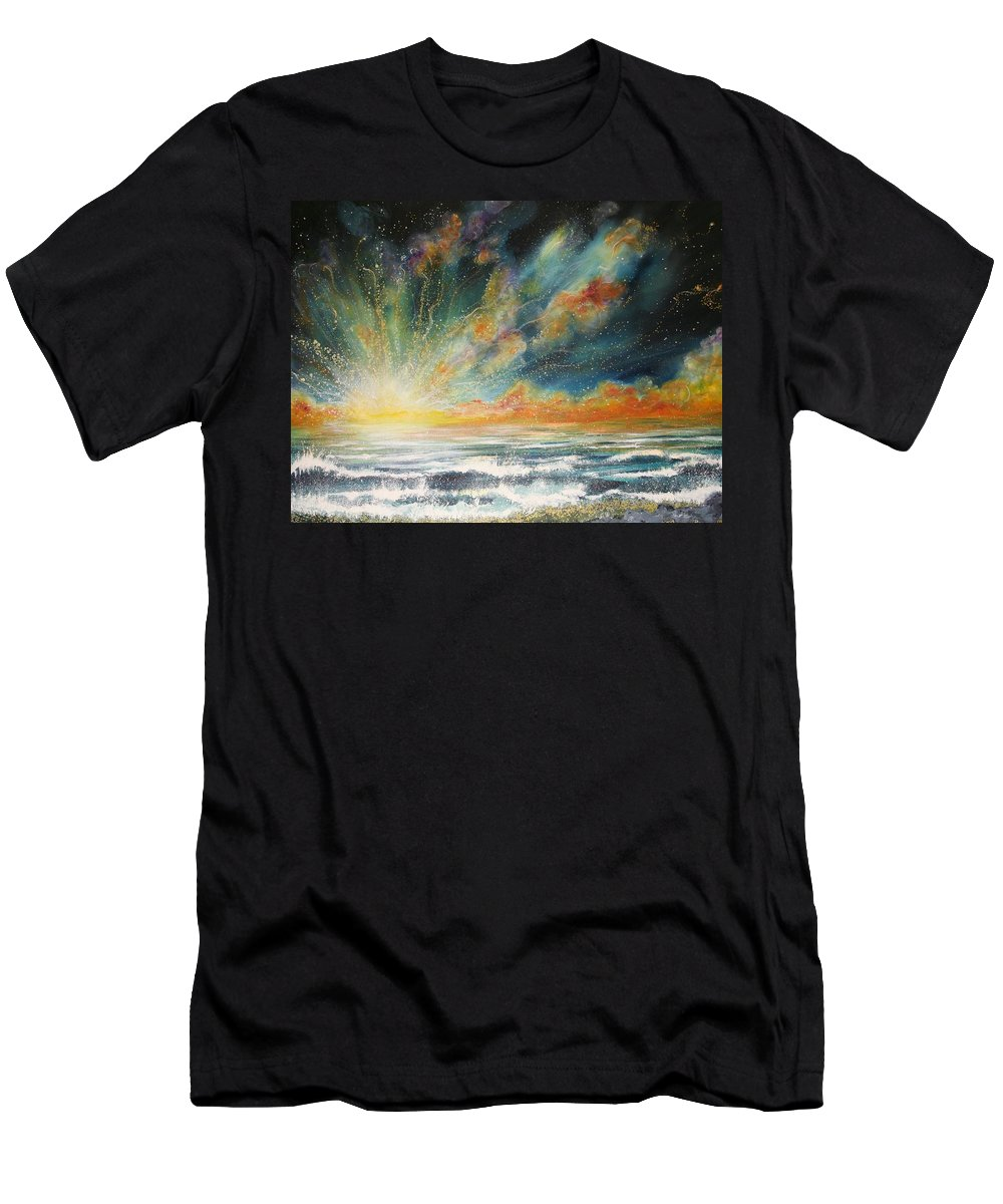 Sea Men's T-Shirt (Athletic Fit) featuring the painting Sun Crash by Naomi Walker