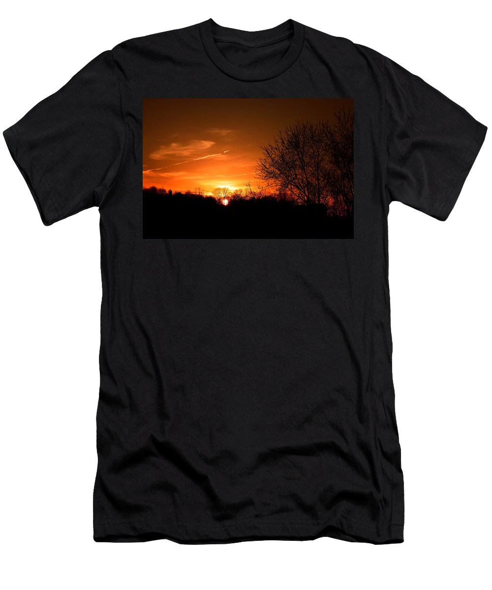 Sunset Men's T-Shirt (Athletic Fit) featuring the photograph Sun Down by Neal Eslinger
