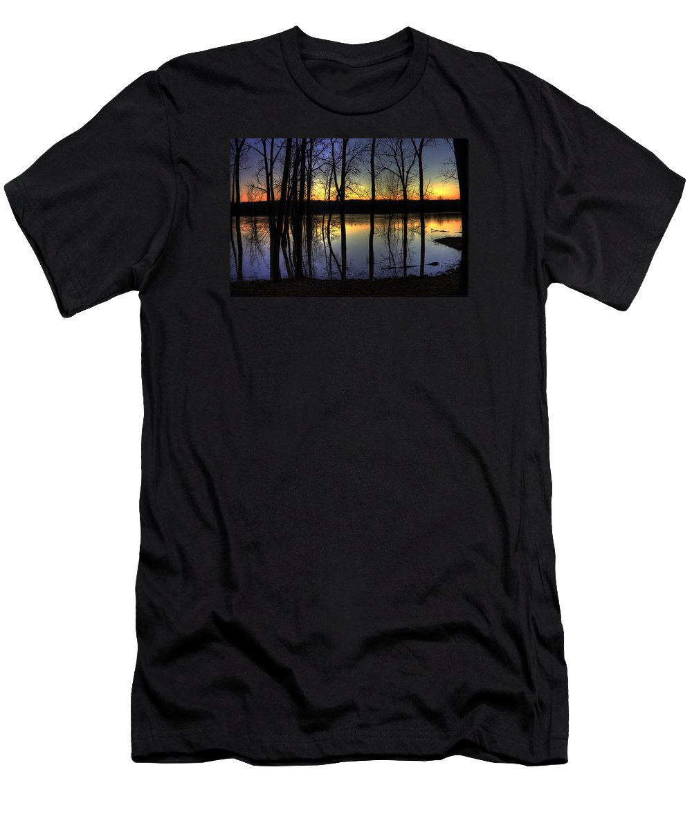 Ducks Men's T-Shirt (Athletic Fit) featuring the photograph Sundown Mallards by Mark Six
