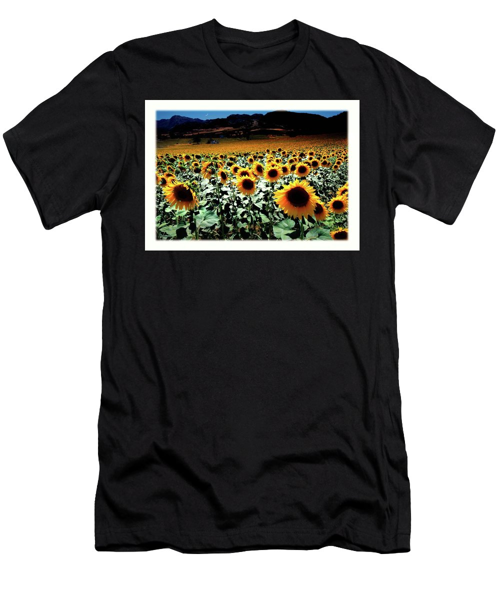Flowers Men's T-Shirt (Athletic Fit) featuring the photograph Sunflowers At Dusk by Mal Bray