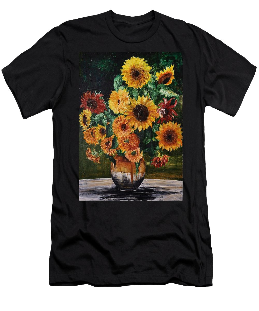 Flowers Men's T-Shirt (Athletic Fit) featuring the painting Sunflowers by Camelia Apostol