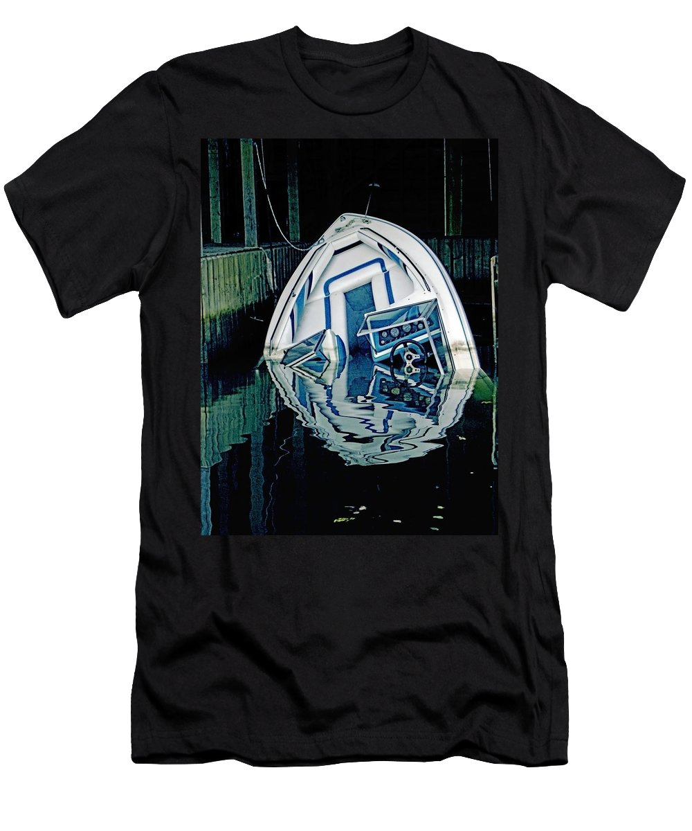 Boat Men's T-Shirt (Athletic Fit) featuring the photograph Sunken Boat by Susan Leggett