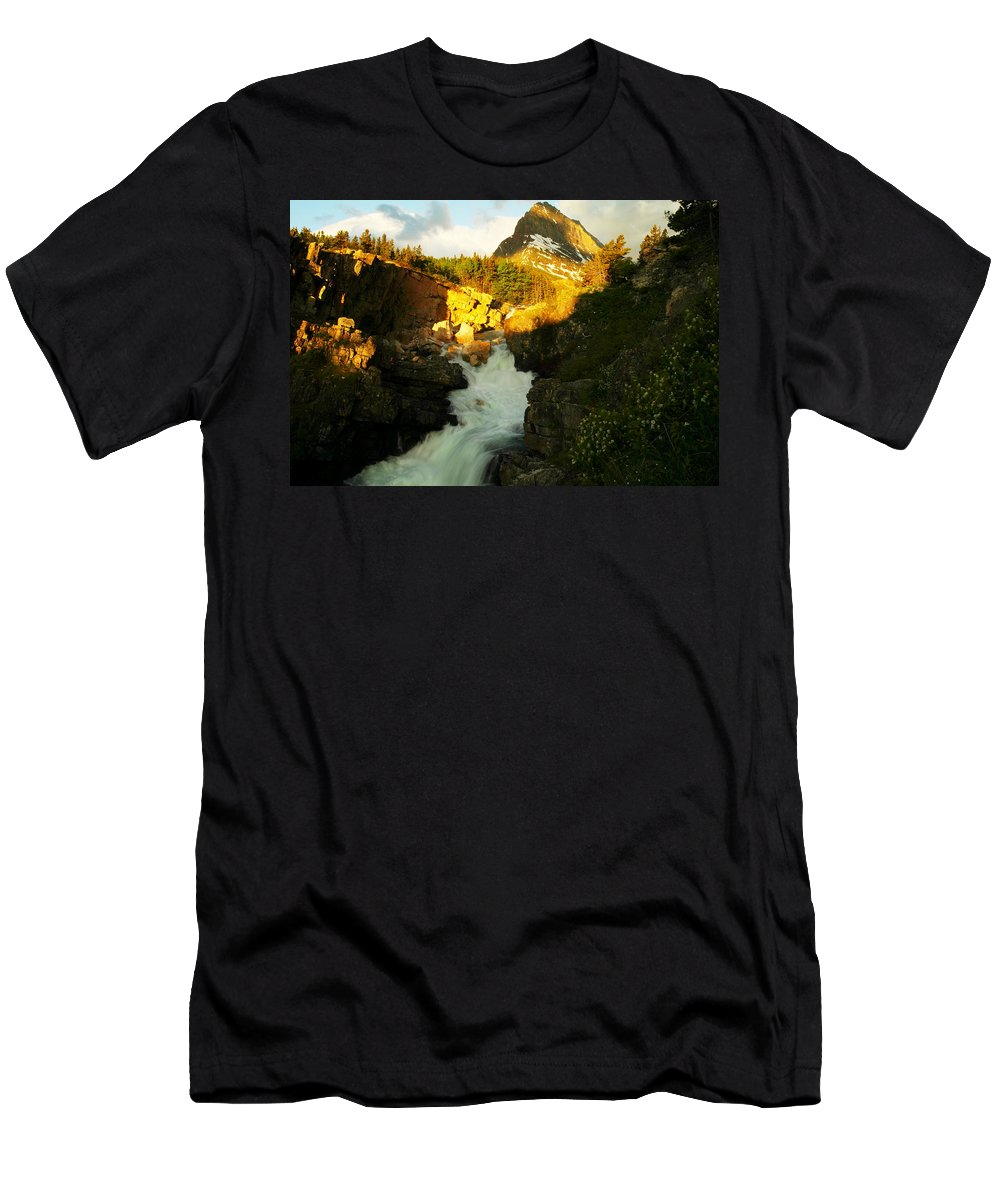 Mountains Men's T-Shirt (Athletic Fit) featuring the photograph Sunrise On A Waterfall At Glacier by Jeff Swan