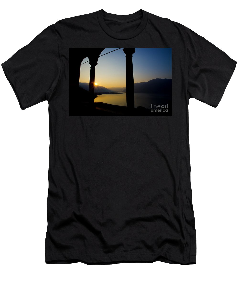 Sunrise Men's T-Shirt (Athletic Fit) featuring the photograph Sunrise Over The Mountains by Mats Silvan