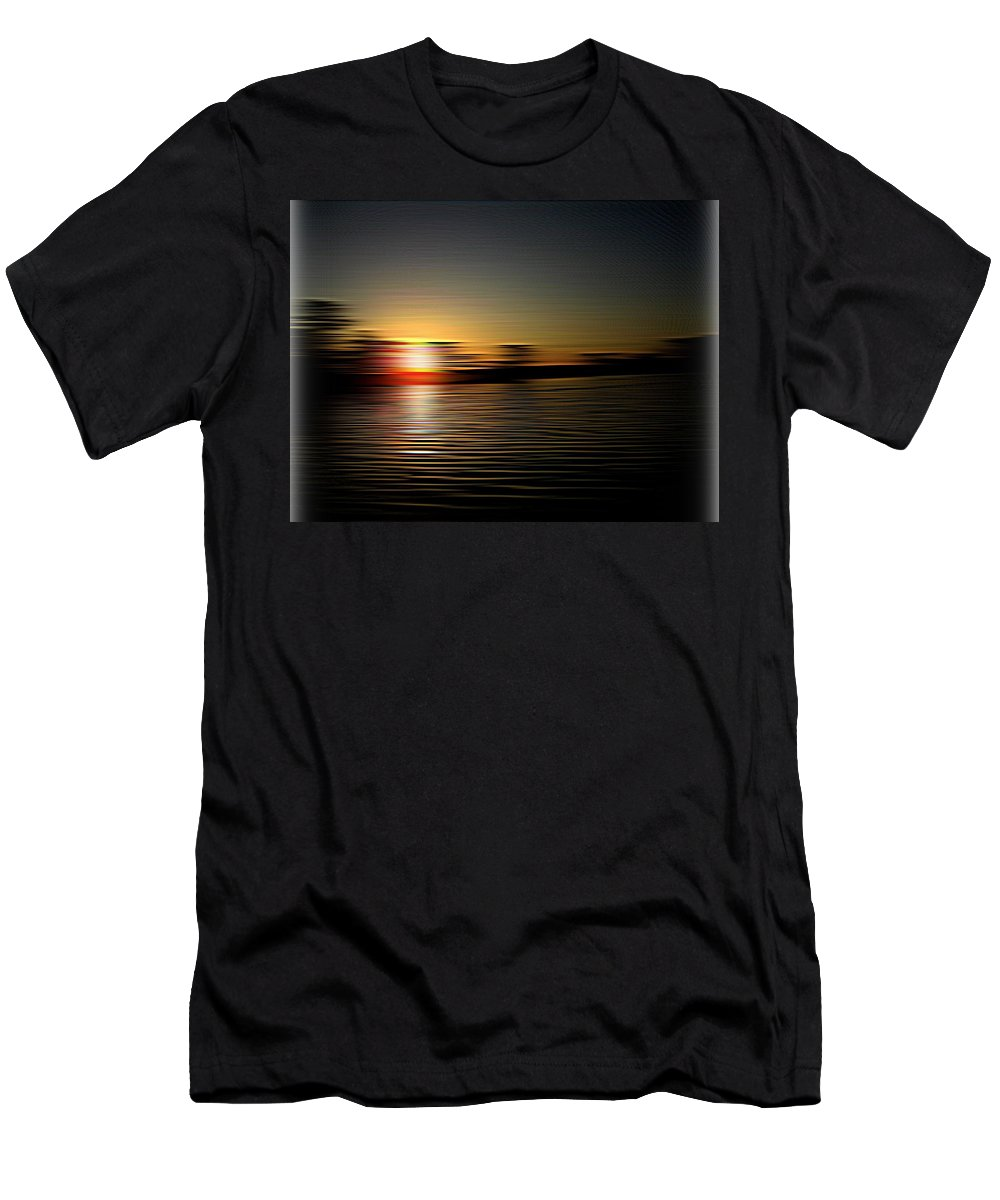 Sunset Men's T-Shirt (Athletic Fit) featuring the photograph Sunset Art 1 by Linda Hutchins