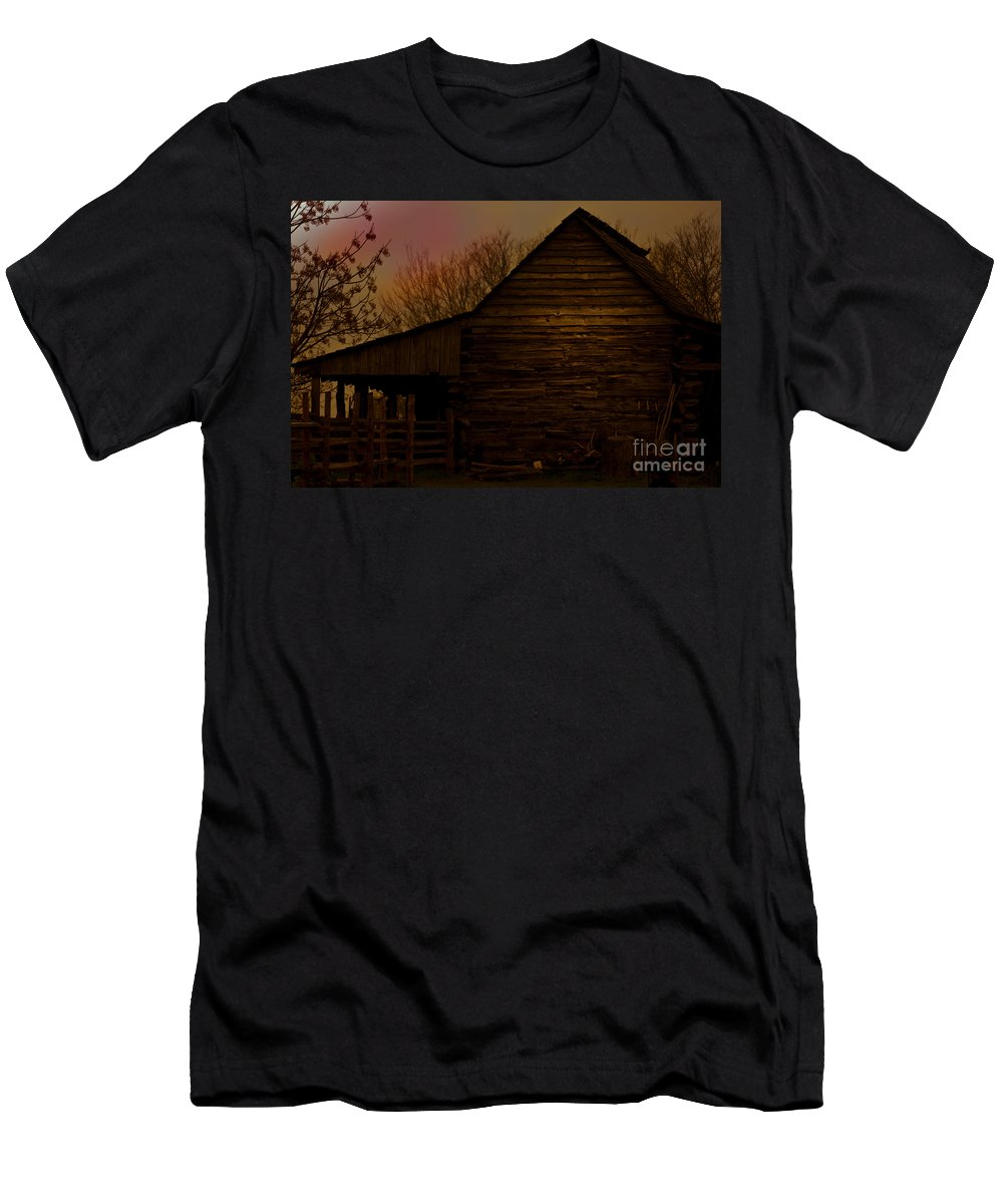 Barn Men's T-Shirt (Athletic Fit) featuring the mixed media Sunset At The Barn by Kim Henderson