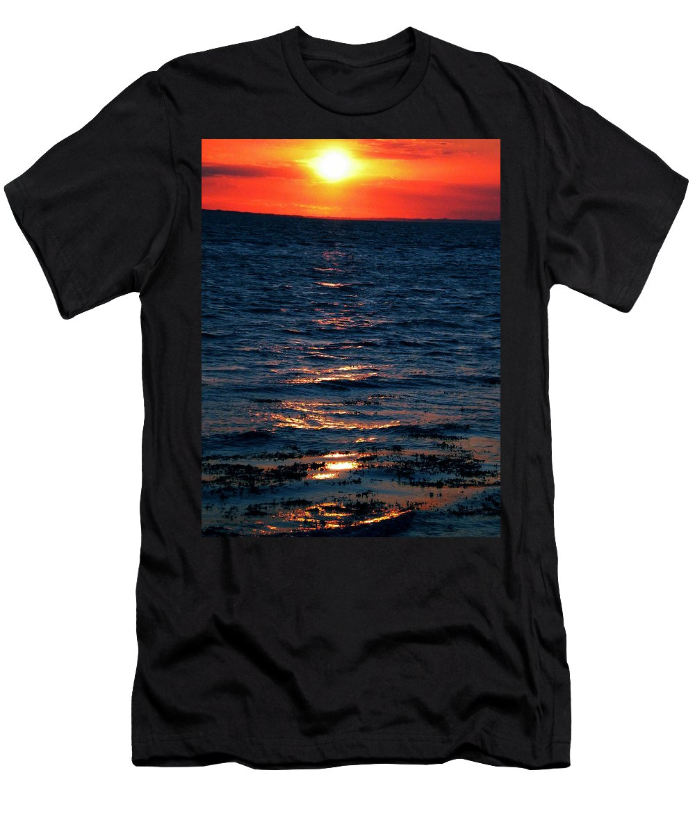 Coletteguggenheim Men's T-Shirt (Athletic Fit) featuring the photograph Sunset Denmark Samsoe Island by Colette V Hera Guggenheim