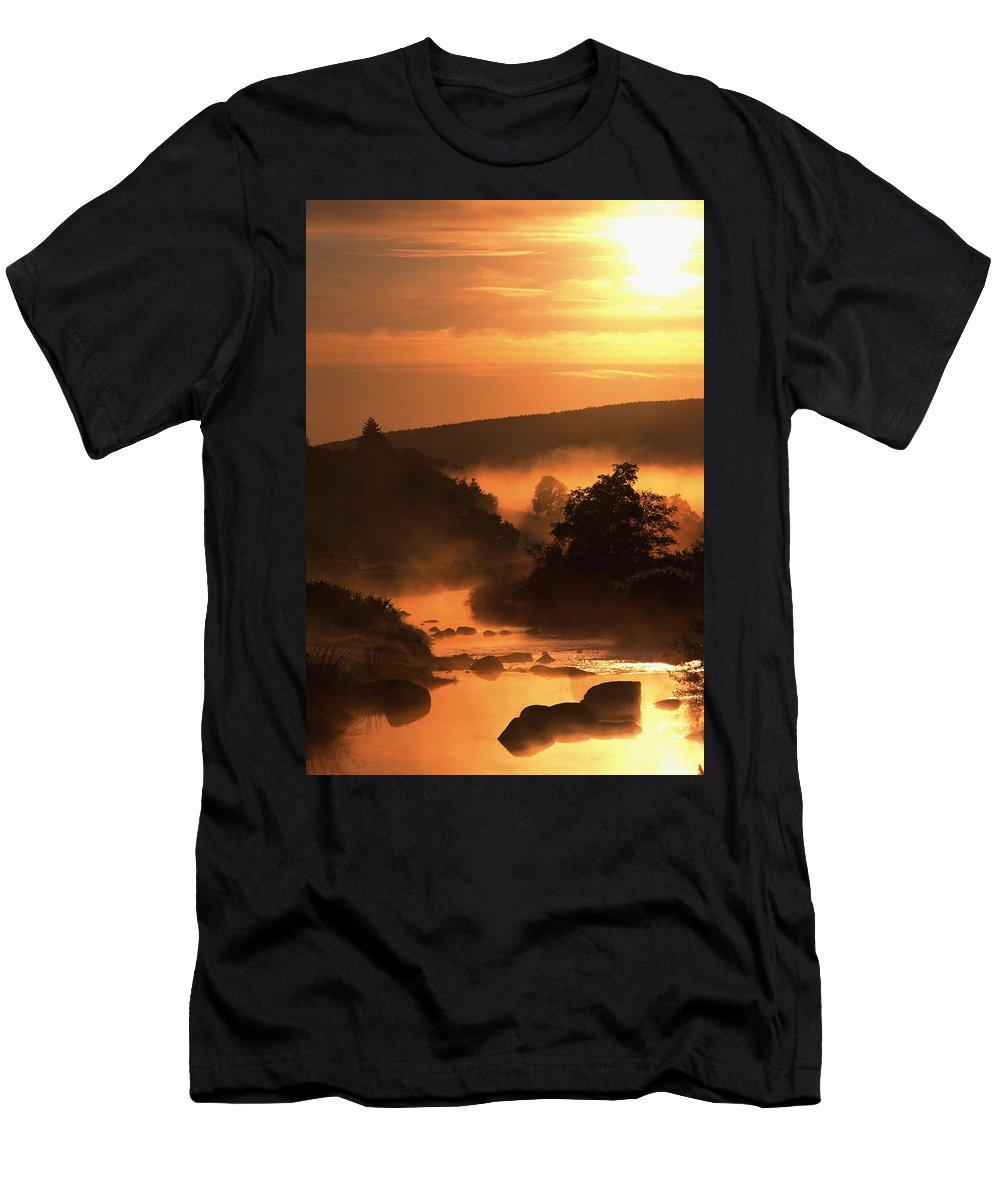 Clouds Men's T-Shirt (Athletic Fit) featuring the photograph Sunset, Glendalough Glendalough, Co by The Irish Image Collection