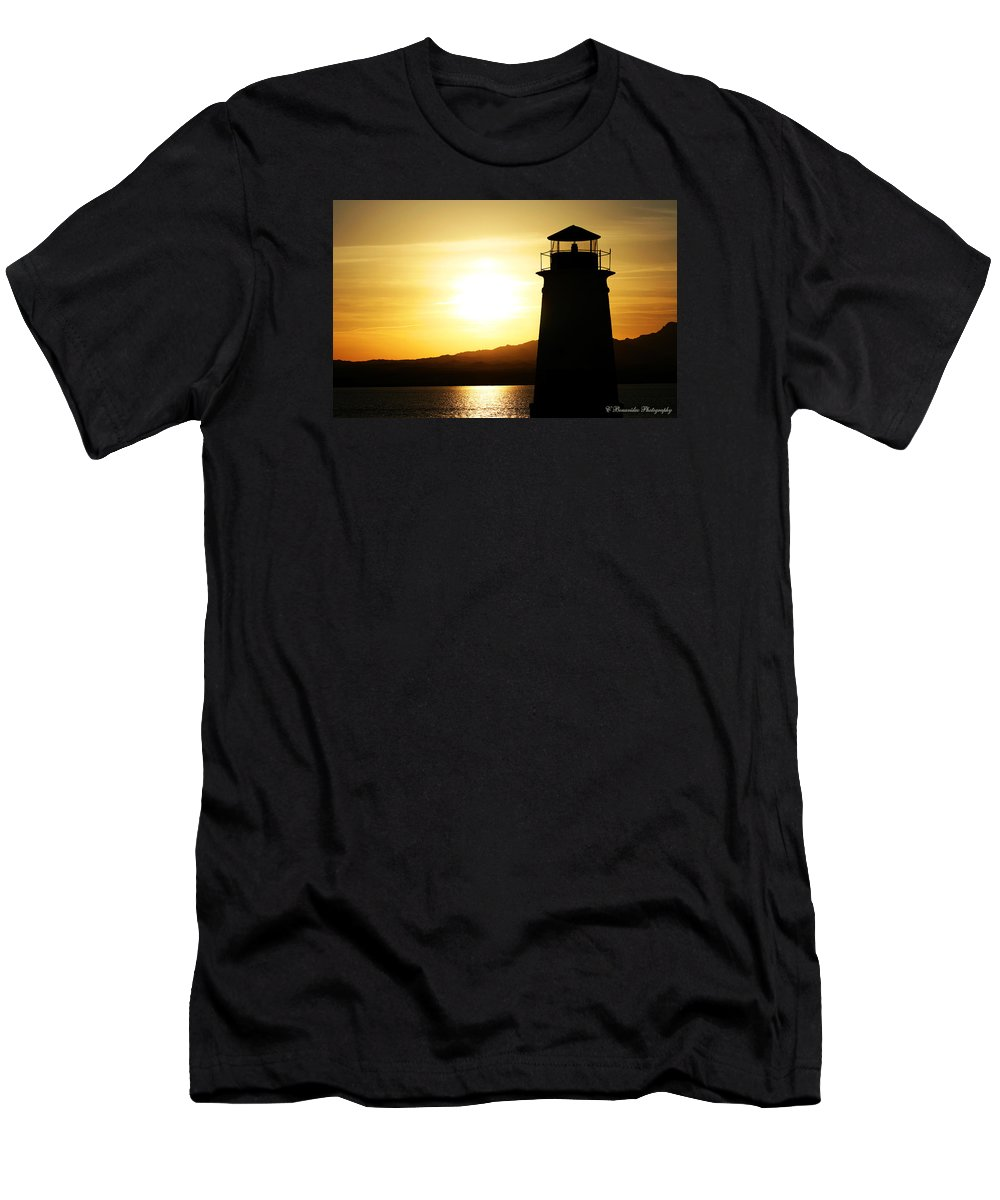 Sunset Men's T-Shirt (Athletic Fit) featuring the photograph Lake Havasu Sunset Lighthouse by Charles Benavidez
