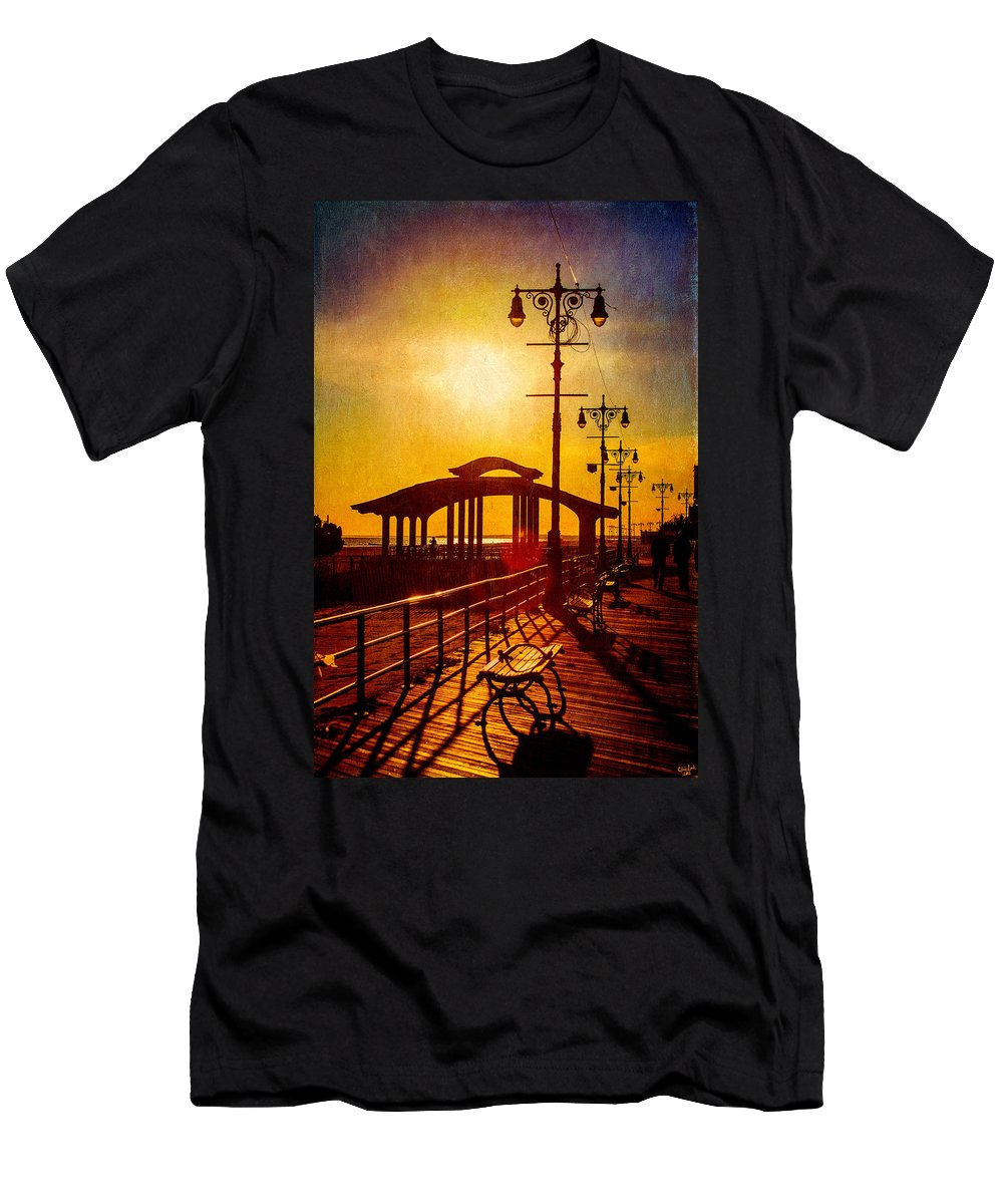 Boardwalk Men's T-Shirt (Athletic Fit) featuring the photograph Sunset On The Boardwalk by Chris Lord