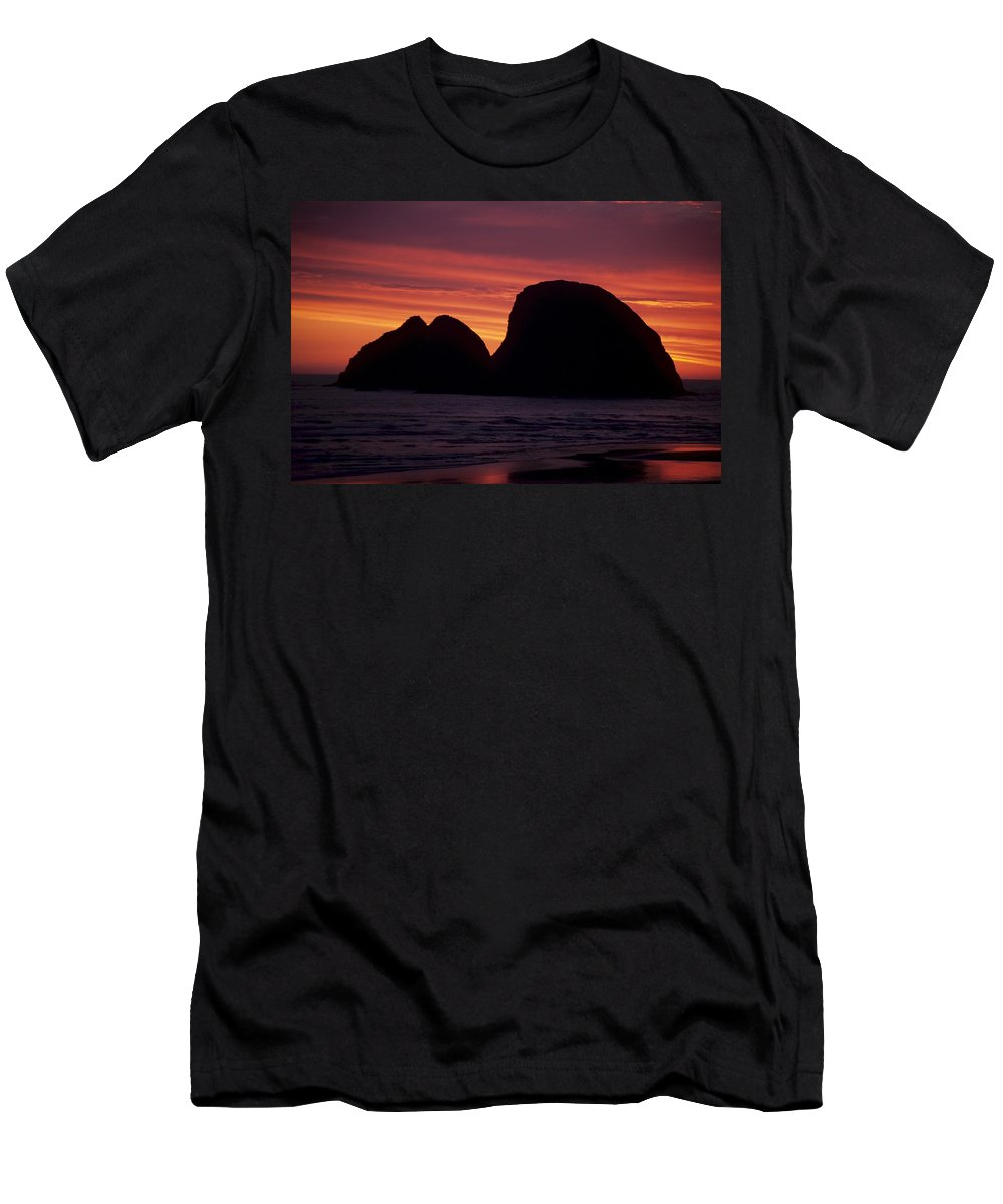 Ocean Men's T-Shirt (Athletic Fit) featuring the photograph Sunset On Three Arch Rocks Bird Sanctuary by One Rude Dawg Orcutt