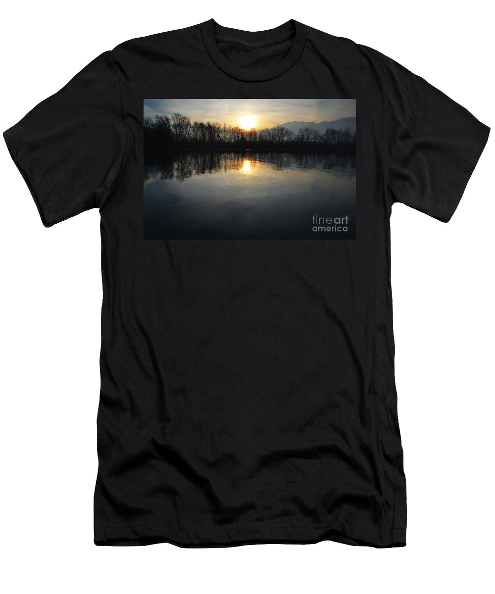 Sun Men's T-Shirt (Athletic Fit) featuring the photograph Sunset Over A Lake by Mats Silvan