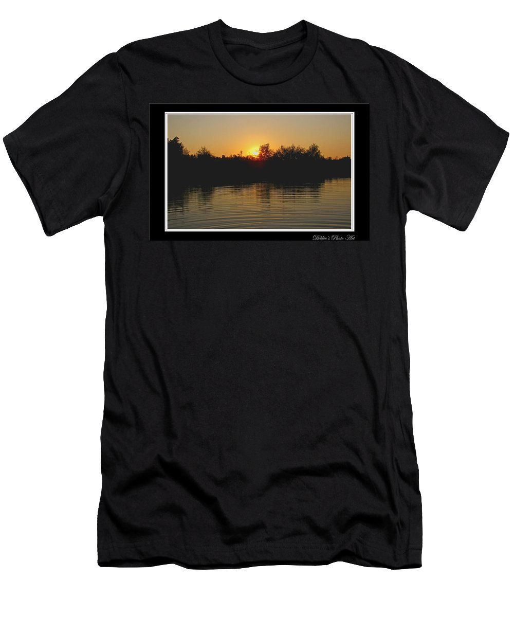 Landscape Men's T-Shirt (Athletic Fit) featuring the photograph Sunset Pond by Debbie Portwood