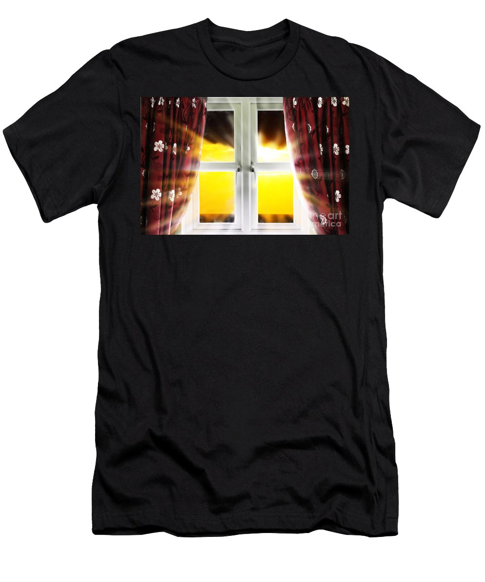 Window Men's T-Shirt (Athletic Fit) featuring the photograph Sunset Through Window by Simon Bratt Photography LRPS