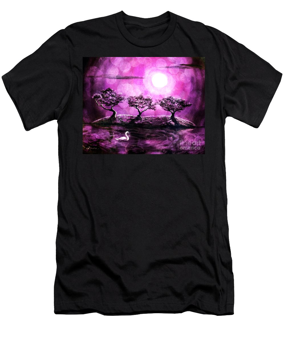 Pink Men's T-Shirt (Athletic Fit) featuring the digital art Swan In A Magical Lake by Laura Iverson