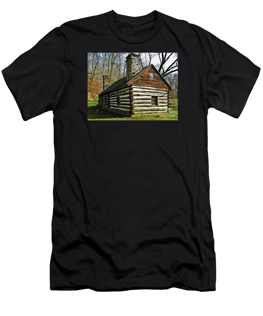Swedish Cabin Men's T-Shirt (Athletic Fit) featuring the photograph Swedish Cabin by Snapshot Studio