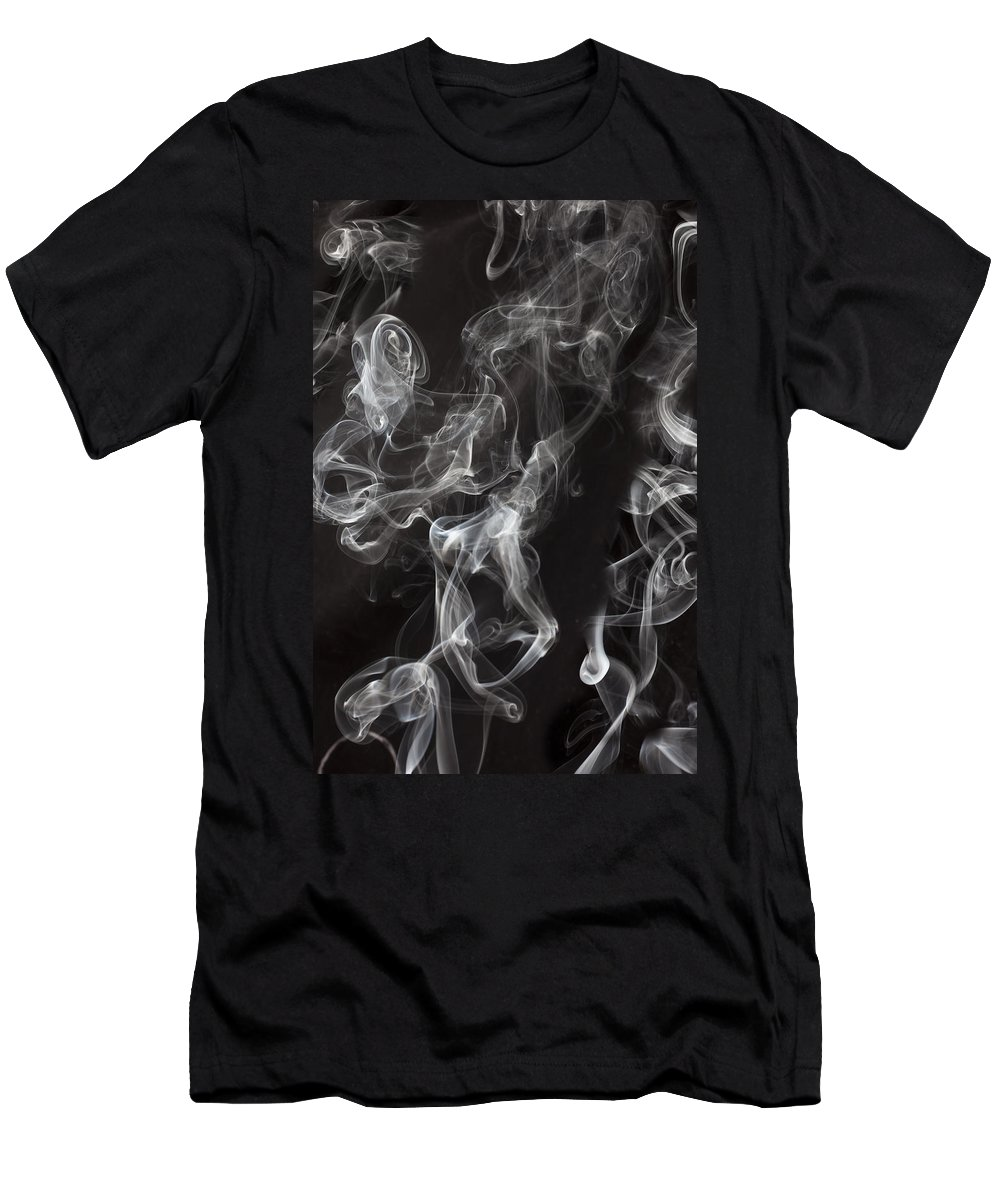Smoke Swirls Men's T-Shirt (Athletic Fit) featuring the photograph Swriling Smoke by Garry Gay