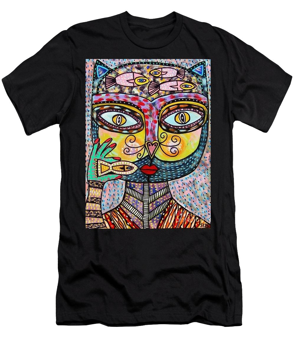 Women Men's T-Shirt (Athletic Fit) featuring the painting Talavera Cat Eating A Fish by Sandra Silberzweig