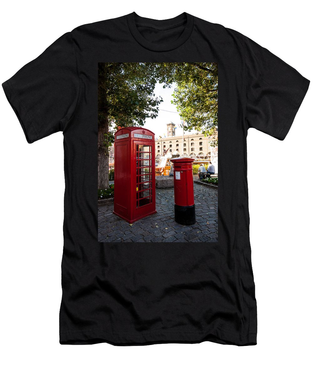 Telephone Box Men's T-Shirt (Athletic Fit) featuring the photograph Telephone And Mail Box by Dawn OConnor