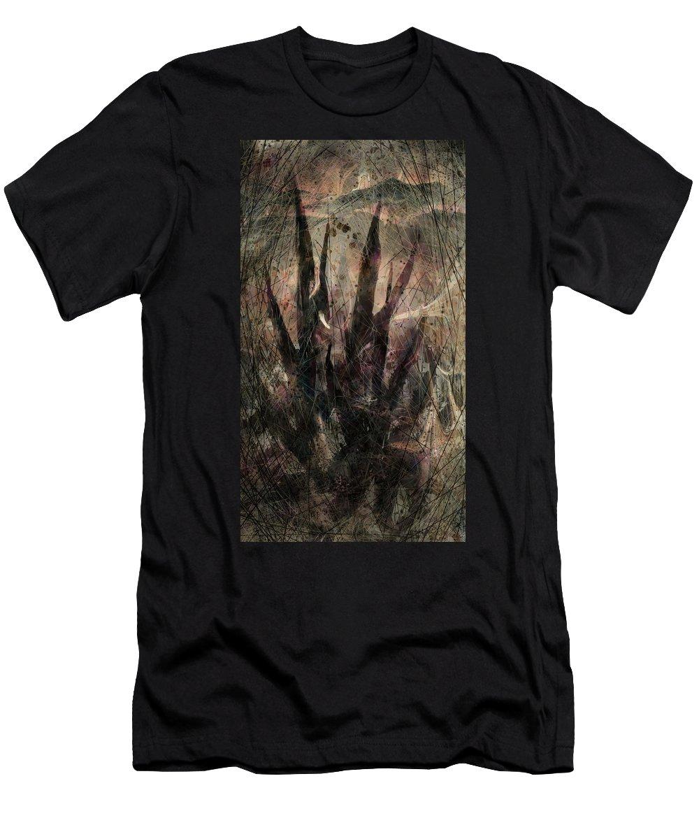 Landscape Men's T-Shirt (Athletic Fit) featuring the digital art Tequila Sunrise by Rachel Christine Nowicki