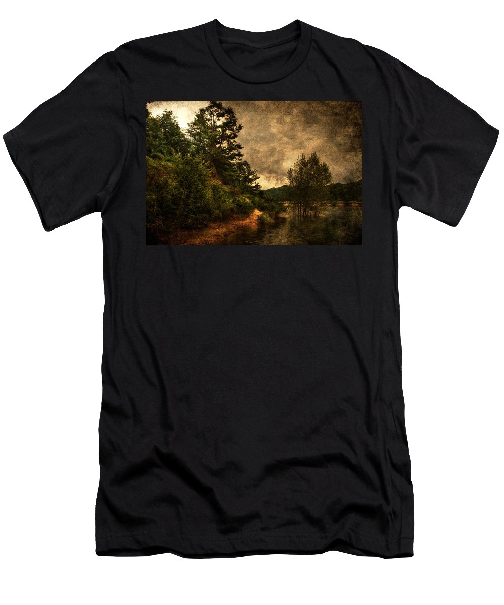 Brugneto Lake Men's T-Shirt (Athletic Fit) featuring the photograph Textured Lake by Roberto Pagani