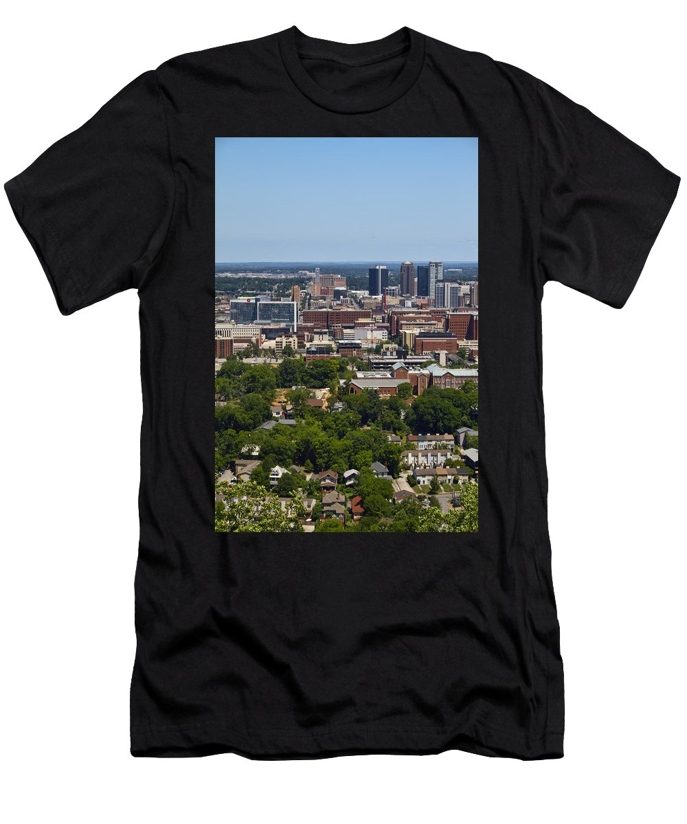 Birmingham Men's T-Shirt (Athletic Fit) featuring the photograph The City Of Birmingham Alabama Usa Vertical by Kathy Clark