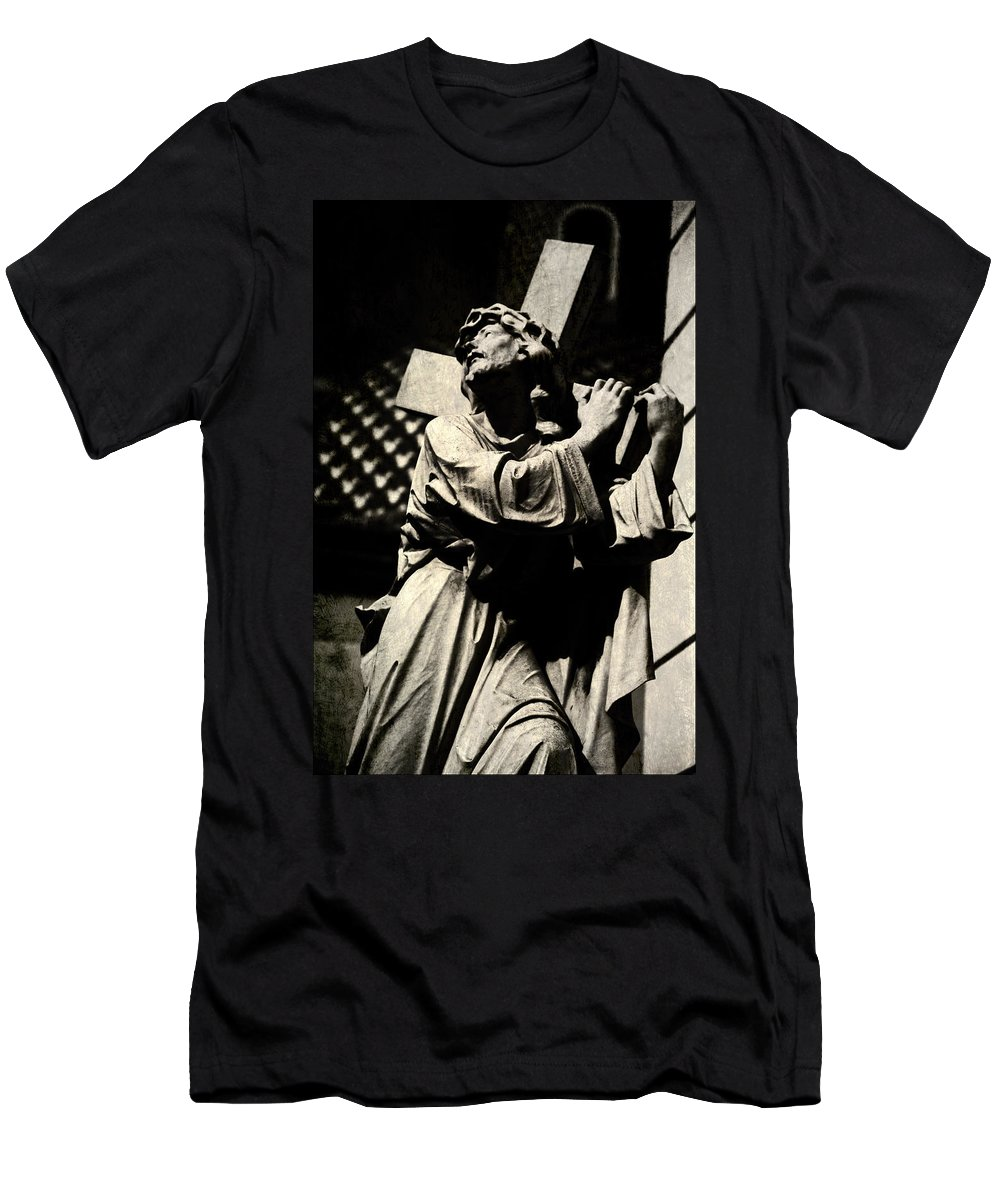 Statue Men's T-Shirt (Athletic Fit) featuring the digital art The Cross by Diane Dugas
