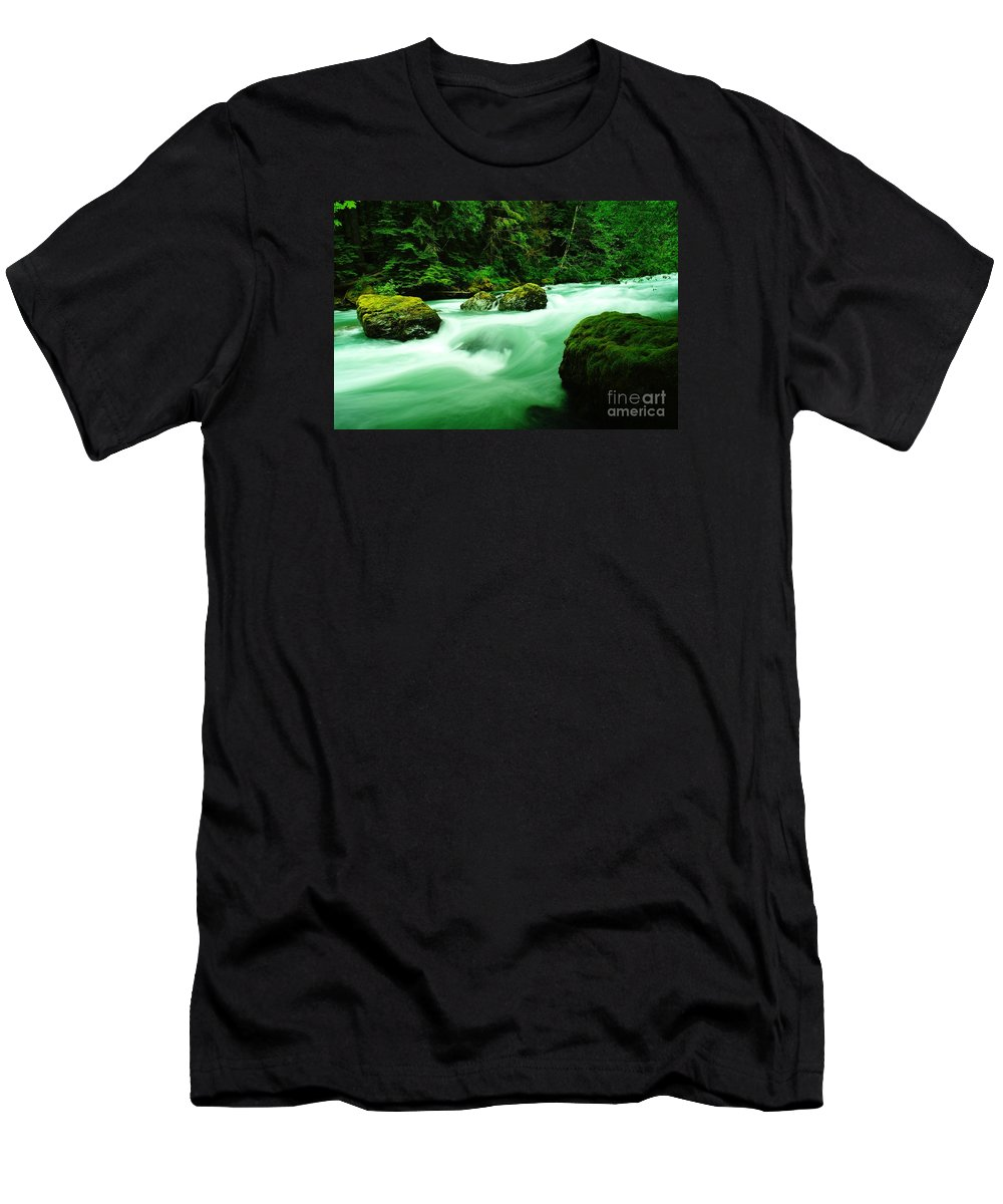 Rivers Men's T-Shirt (Athletic Fit) featuring the photograph The Dosewallups River by Jeff Swan