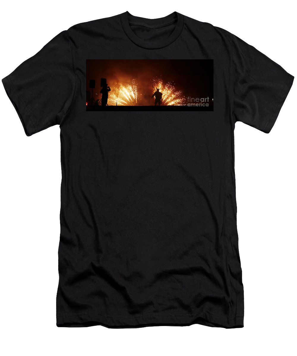 Fuego Men's T-Shirt (Athletic Fit) featuring the photograph The Emergence Of The Devil by Agusti Pardo Rossello