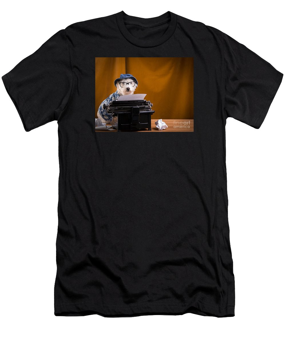 Author Men's T-Shirt (Athletic Fit) featuring the photograph The Hard Boiled Journalist by Edward Fielding