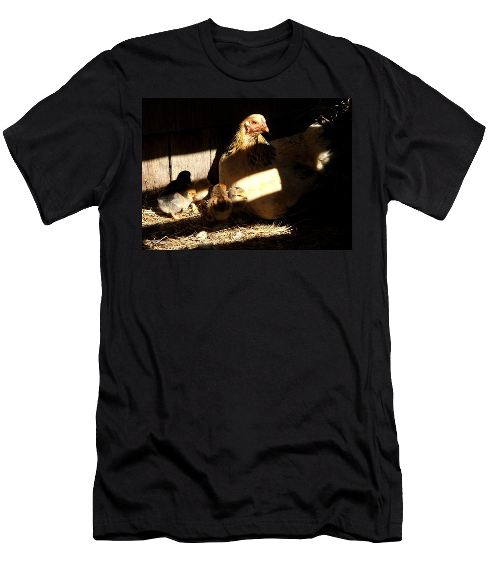 Poultry Men's T-Shirt (Athletic Fit) featuring the photograph The Hiding Place by Judy Garrett