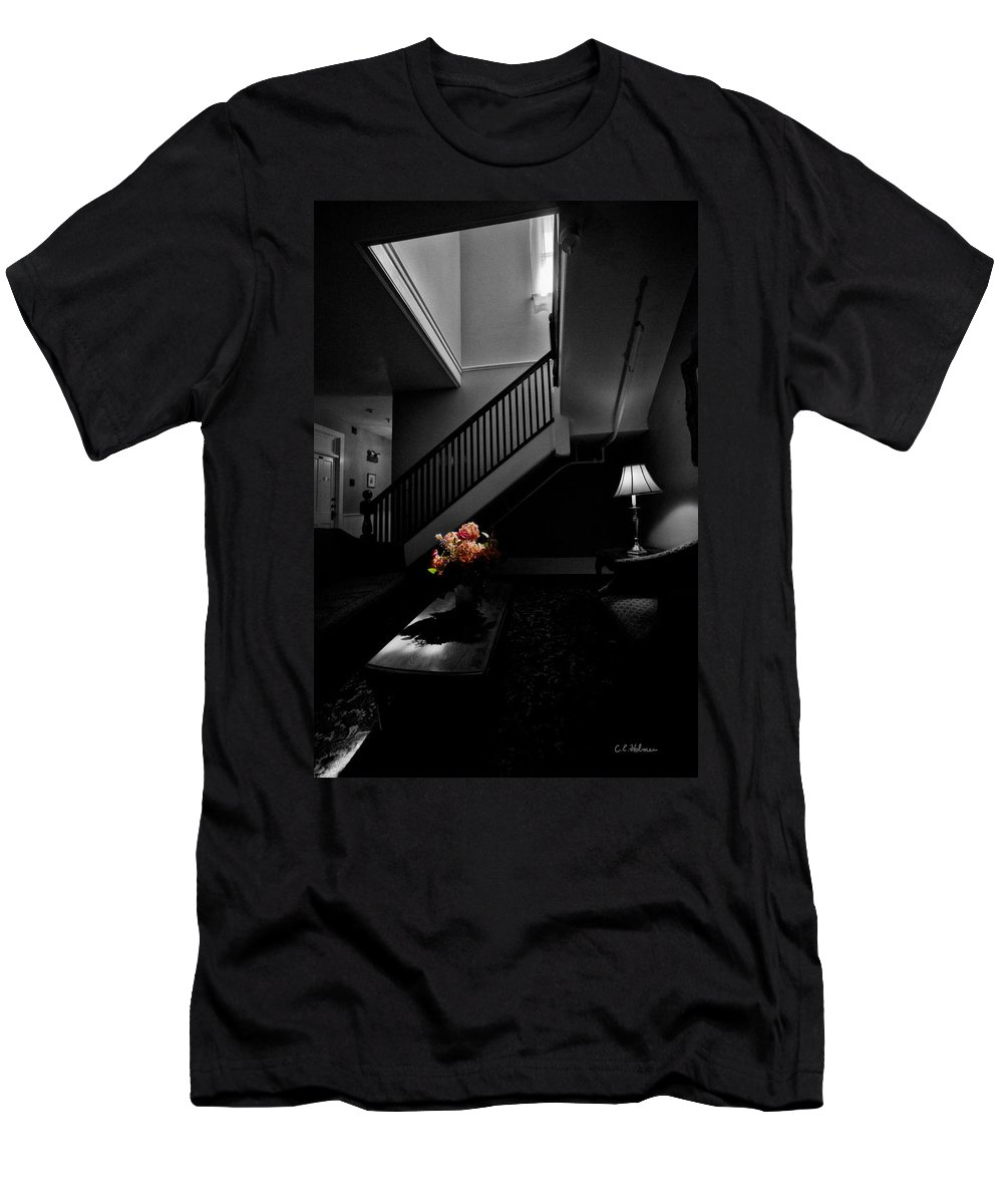 Stairway Men's T-Shirt (Athletic Fit) featuring the photograph The Landing by Christopher Holmes
