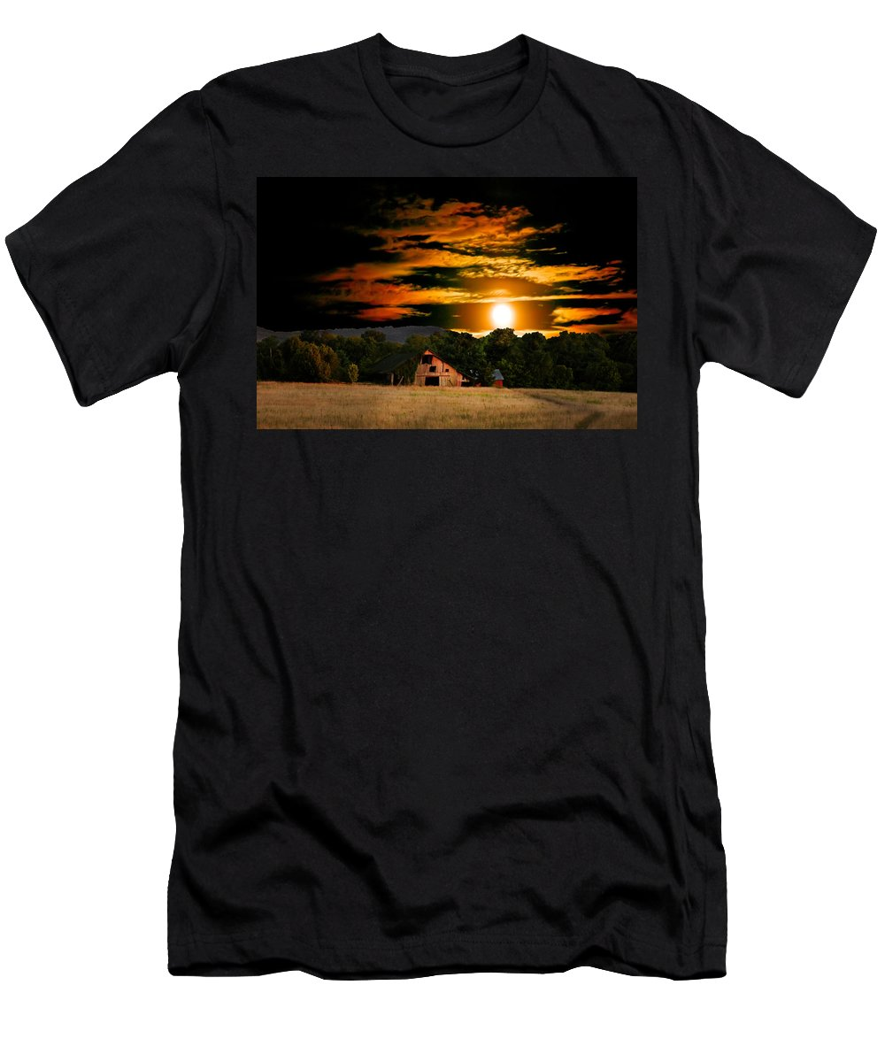 Harvest Moon Photos Men's T-Shirt (Athletic Fit) featuring the photograph The Late Sam's Rd. Barn In The Moonlight by Randall Branham