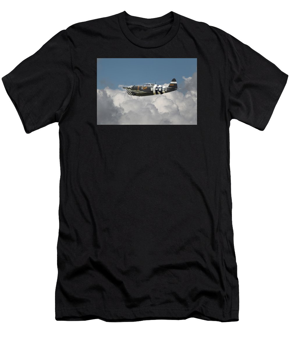 Aircraft Men's T-Shirt (Athletic Fit) featuring the photograph P47 Thunderbolt - The Mighty Jug by Pat Speirs
