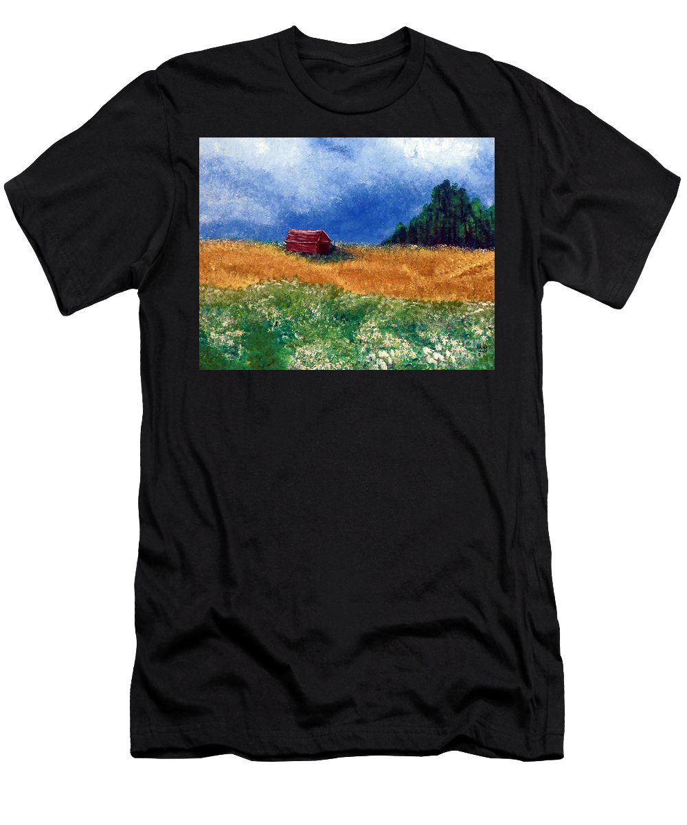 Weathered Men's T-Shirt (Athletic Fit) featuring the painting The Old Red Barn by Alys Caviness-Gober