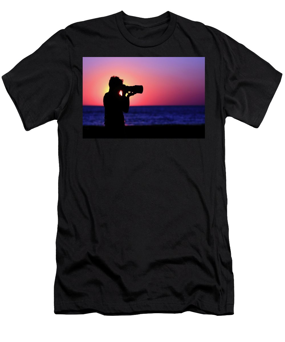 Sunset Men's T-Shirt (Athletic Fit) featuring the photograph The Photographer by Rick Berk
