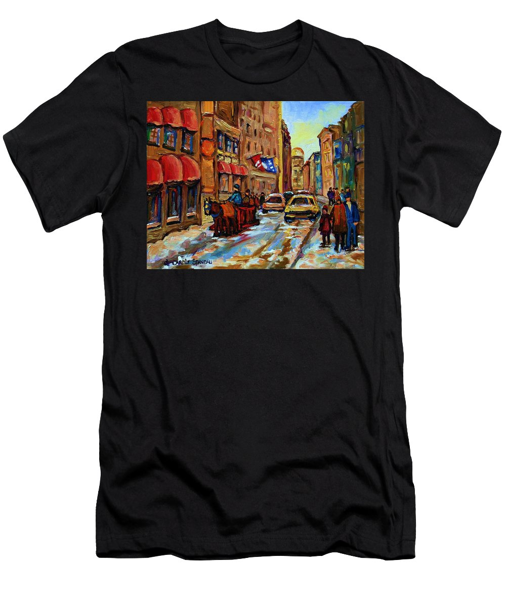 Horses Men's T-Shirt (Athletic Fit) featuring the painting The Red Sled by Carole Spandau