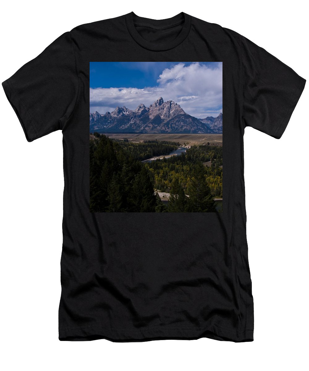 Grand Men's T-Shirt (Athletic Fit) featuring the photograph The Tetons - Il by Larry Carr