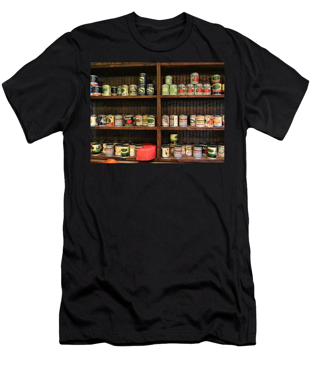 Canned Goods Men's T-Shirt (Athletic Fit) featuring the photograph The Vintage Pantry At Vulcan by Kathy Clark