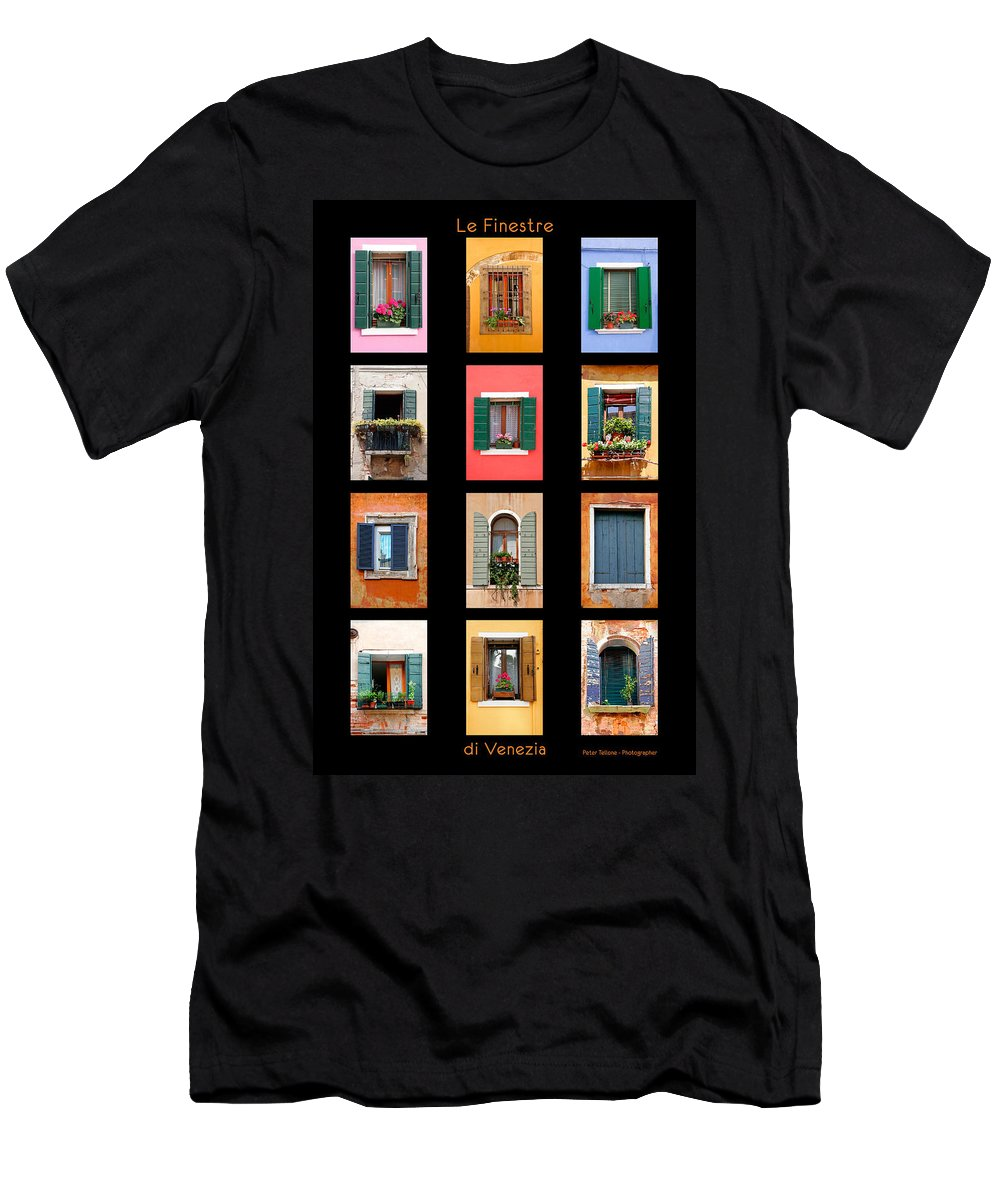 Architecture Men's T-Shirt (Athletic Fit) featuring the photograph The Windows Of Venice by Peter Tellone