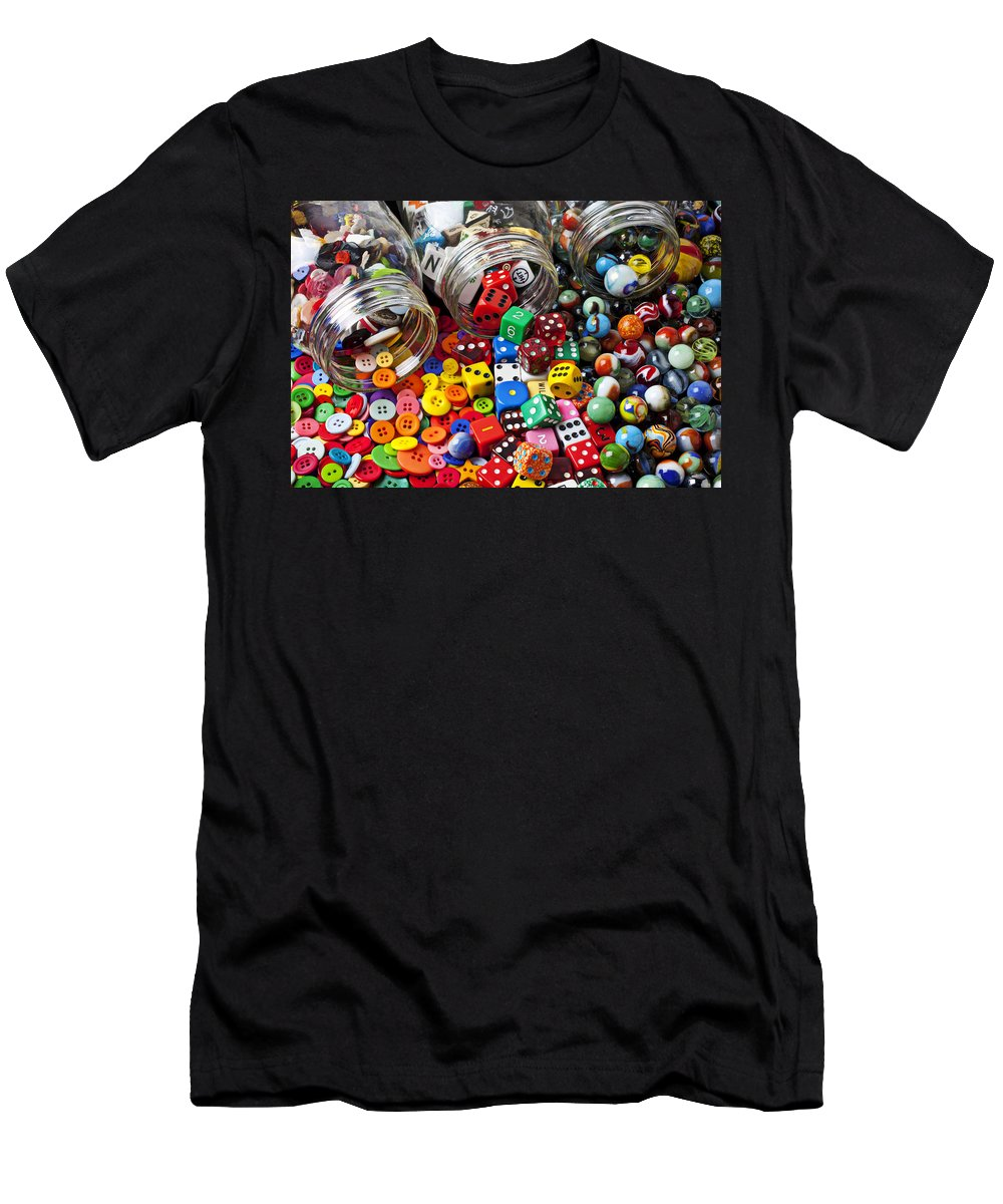 Three Jars Buttons Men's T-Shirt (Athletic Fit) featuring the photograph Three Jars Of Buttons Dice And Marbles by Garry Gay