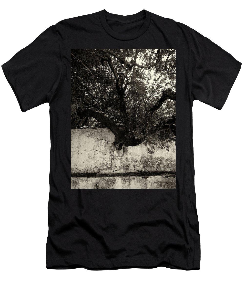 Jouko Lehto Men's T-Shirt (Athletic Fit) featuring the photograph Through The Wall Bw by Jouko Lehto