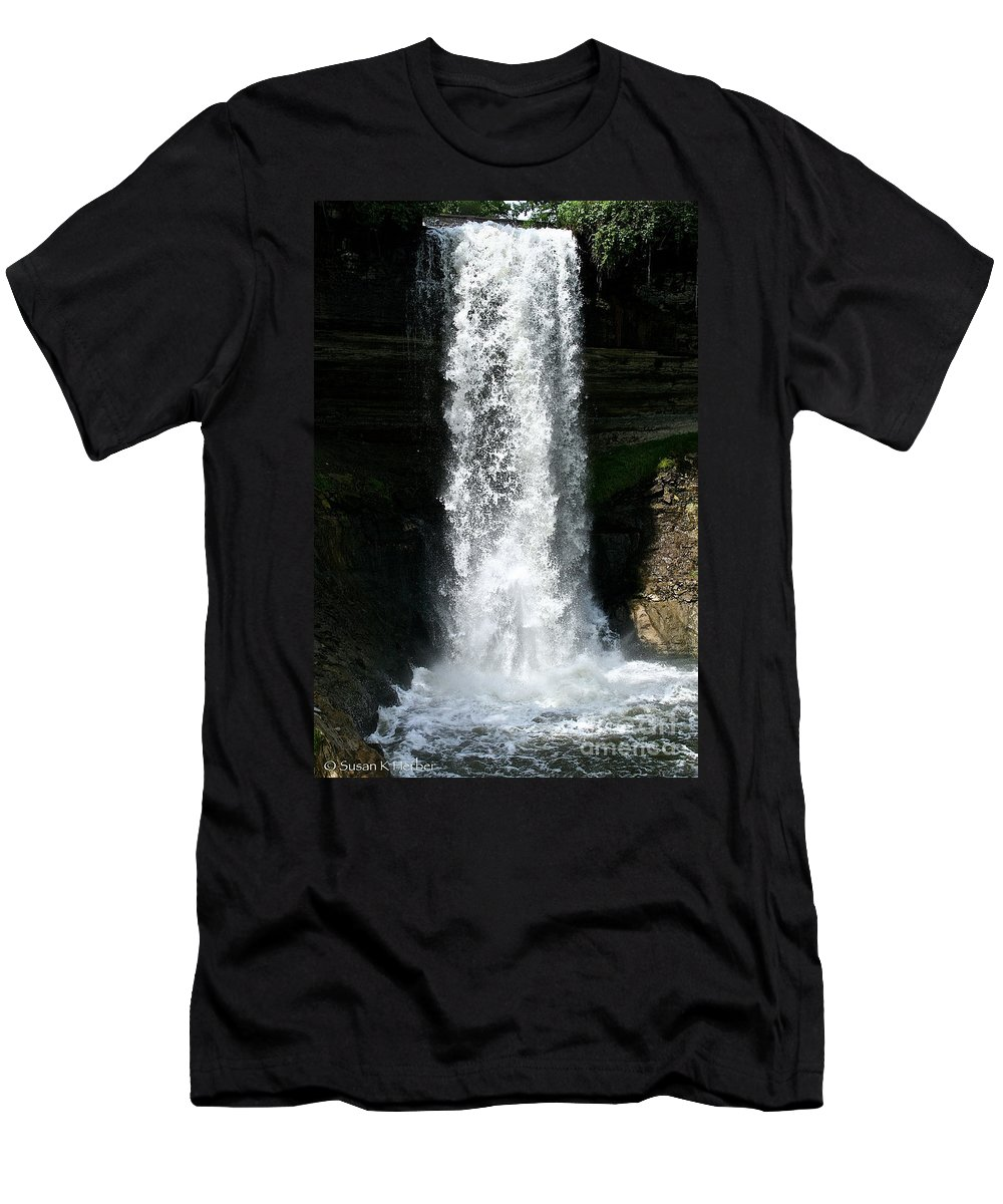 Outdoors Men's T-Shirt (Athletic Fit) featuring the photograph Thunder Water by Susan Herber