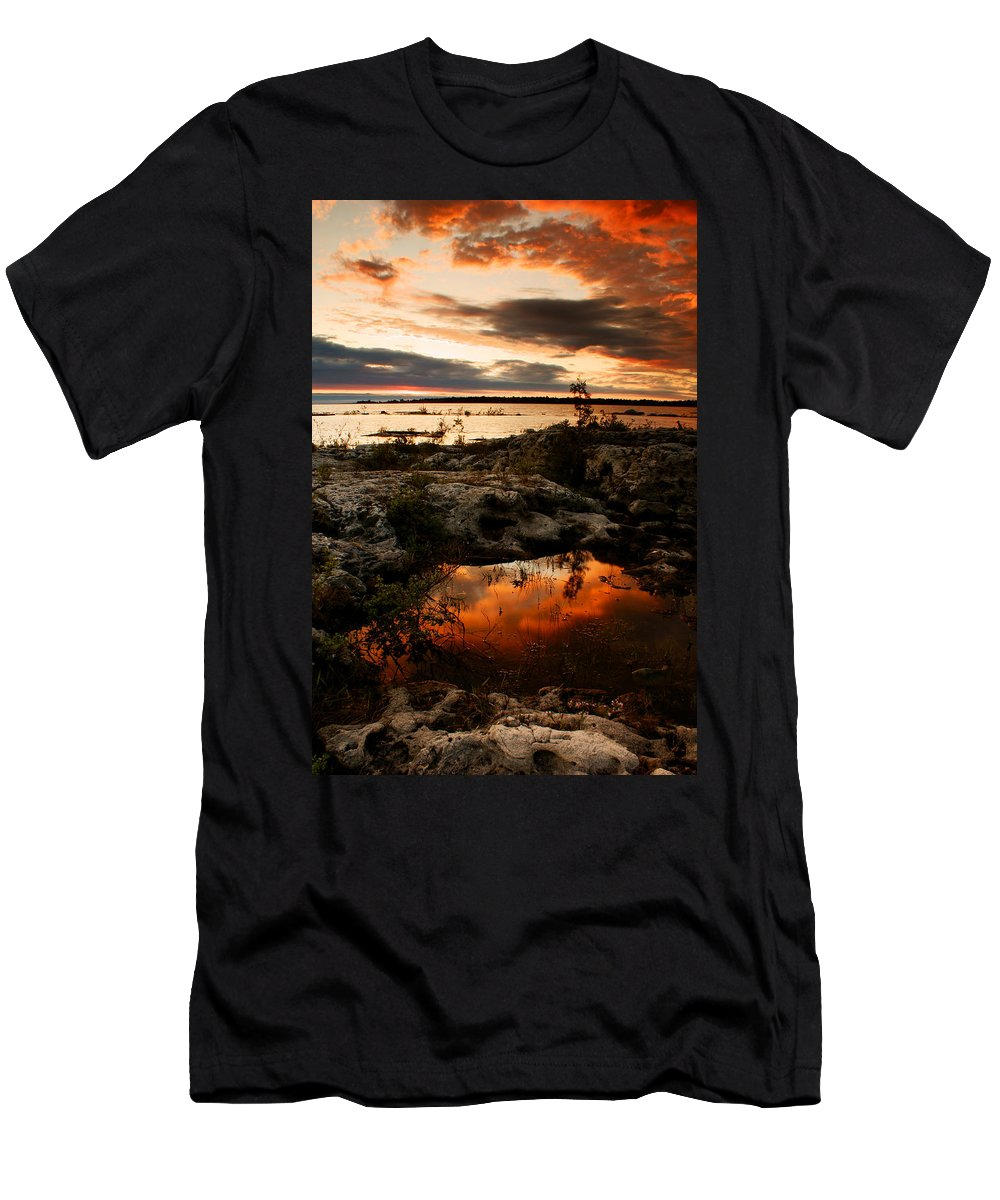 Sunset Men's T-Shirt (Athletic Fit) featuring the photograph Tide Pool by Cale Best