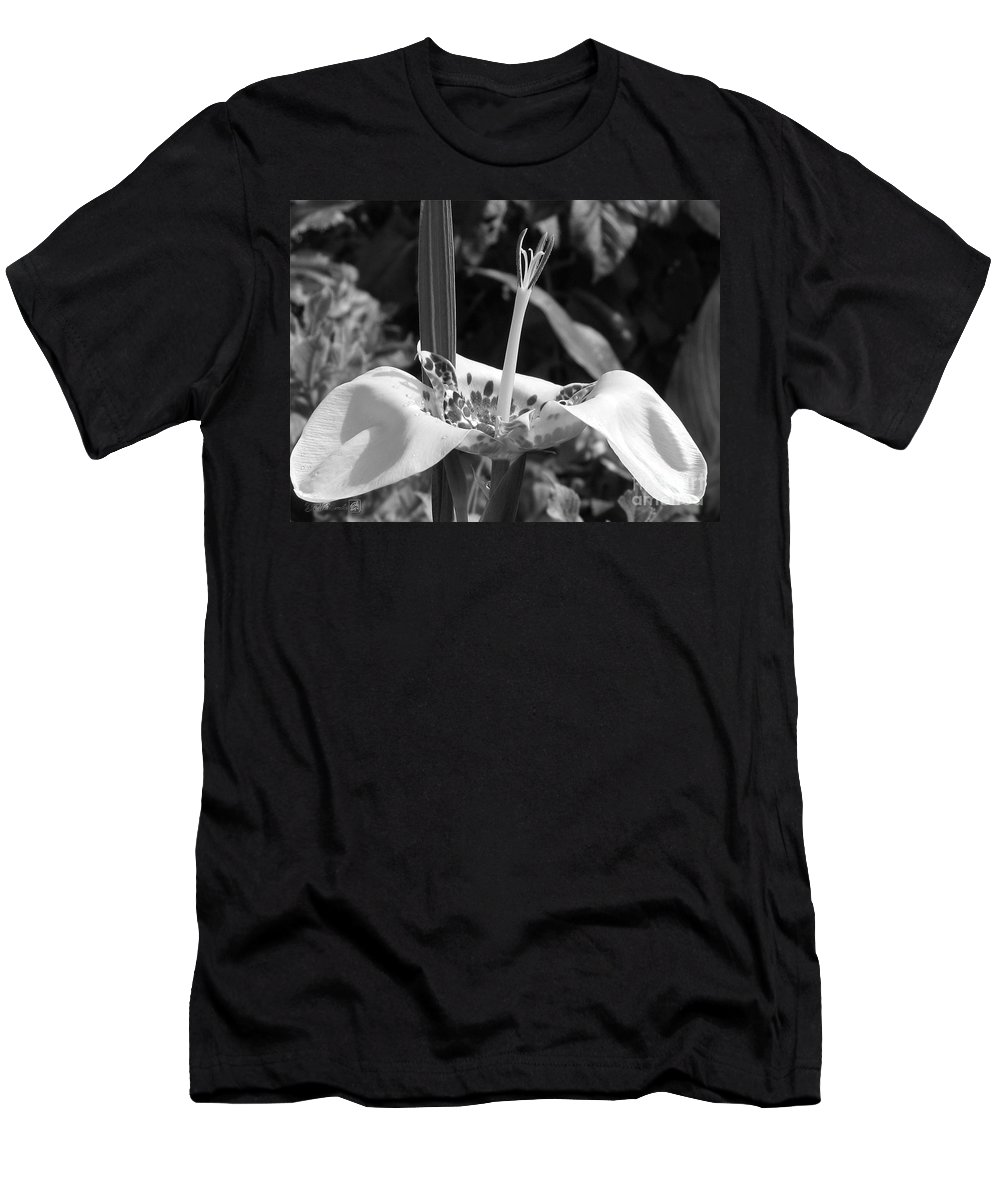 Tigridia Pavonia Men's T-Shirt (Athletic Fit) featuring the photograph Tigridia Pavonia Or Mexican Shell Flower by J McCombie