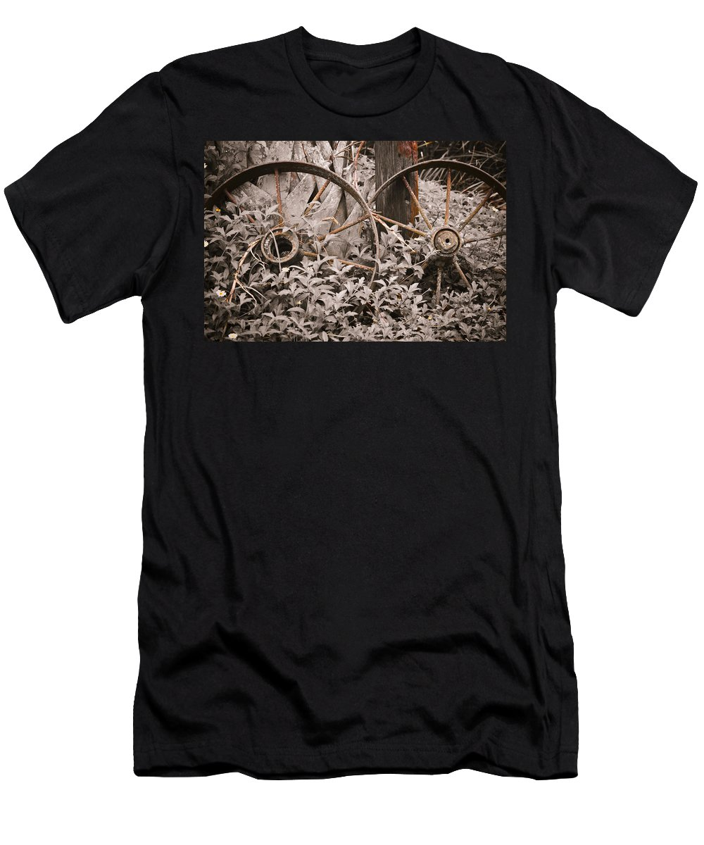 Wheel Men's T-Shirt (Athletic Fit) featuring the photograph Time Forgotten by Carolyn Marshall