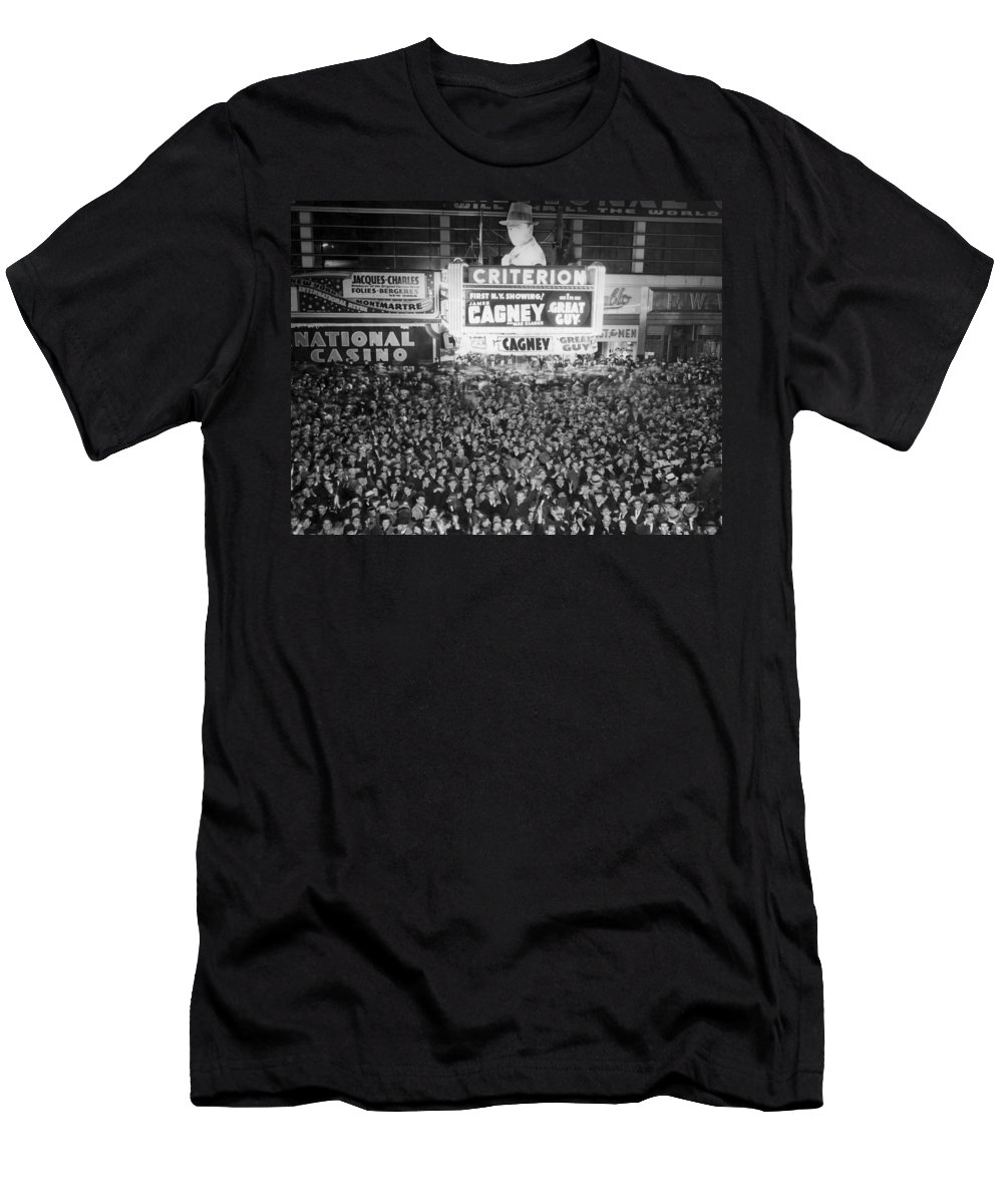 1930s Men's T-Shirt (Athletic Fit) featuring the photograph Times Square Election Crowds by Underwood Archives