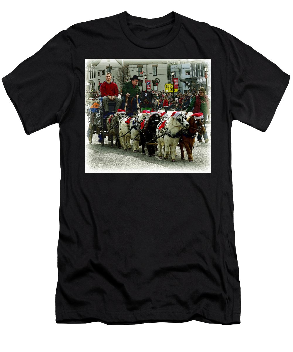 Horses Men's T-Shirt (Athletic Fit) featuring the photograph Tiny Pony Carriage by Jenny Gandert
